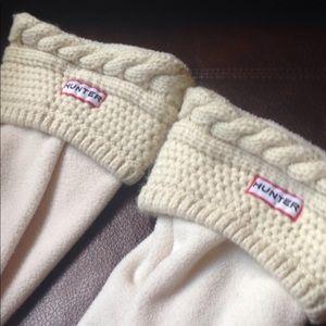 Cream Hunter boot socks liners knit fleece sz 8-10